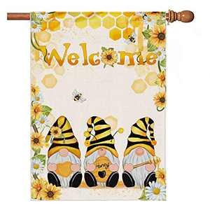 Hexagram Flower Bee Gnomes Summer Flags 28 x 40 Double Sided,Burlap Welcome Flag,Spring and Summer Large Garden Flag,Sunflower and Daisy Honey Welcome Outdoor Decoration Sign