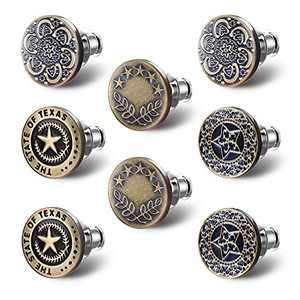 Upgraded 8 Sets Button Pins for Jeans,Myfolrena Replacement Jean Button Pins Make Jeans Fit Perfect,Adjustable No Sew Instant Buttons Tighten or Loosen Any Pants