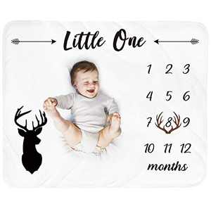 Baby Monthly Milestone Blanket Boy - Newborn Month Blanket Unisex Neutral Personalized Shower Gift Deer Antlers Nursery Decor Photography Background Prop with Frame Large 51''x40''