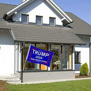 Vlipoeasn Trump 2024 Flag, Save America Again Flag, 5 x 3 Feet Banner with Two Brass Grommets for Indoor and Outdoor Decoration