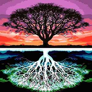 Tree Paint by Numbers for Adults Kids, Reflection Tree Canvas Printing DIY Craft Kits for Women with Oil Painting Tools Acrylic Pigment Number Accessories, Ideal Gift and Hobbies