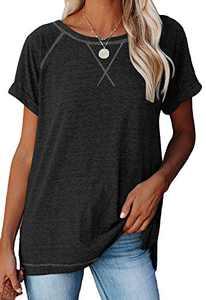 Women's Short Raglan Sleeve Crewneck Shirts Loose Casual Color Block Tee T-Shirt (Z Black, Large)