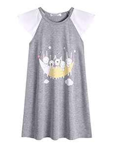 Ekouaer Sleepwear for Girls Cartoon Print Nightwear Flutter Sleeve Nightgown Grey