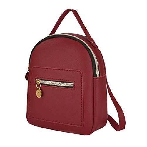 Small Leather Backpack Mini Cute Casual Daypack Zippered Pockets Crossbody Convertible Shoulder Bags for Women Girl (Red)