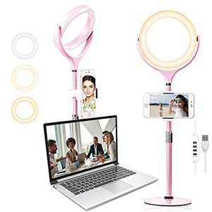 """8"""" Laptop Ring Light for Computer Video Conference, Wixann Desk Selfie RingLight with Stand and Phone Holder for Zoom Meeting Recording, Live Stream, Makeup, YouTube, Tiktok, Webcam Light (Pink)"""