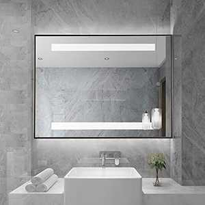 Mirrorons 40x28 Inch LED Lighted Bathroom Mirror, Wall Mounted Bathroom Mirror with Lights Adjustable, Brightness Memory, Anti-Fog & Auto-Off Defogging After 1h,Copper-Free Mirror (Horizontal Only)