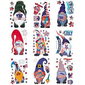 9 Sheets Independence Day Gnome Static Window Clings- Double Sided Faceless Doll American Flag Window Decals Stickers in 9 Styles Party Favors for Spring Home Cafe Restaurant Glass Door Window Decors