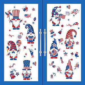 8 Sheets 4th of July Window Clings Independence Day Window Gnome Decal PVC Stickers Patriotic Gnome Stickers Fourth of July Decals Party Ornaments for Independence Day Party Decoration, 4 Styles