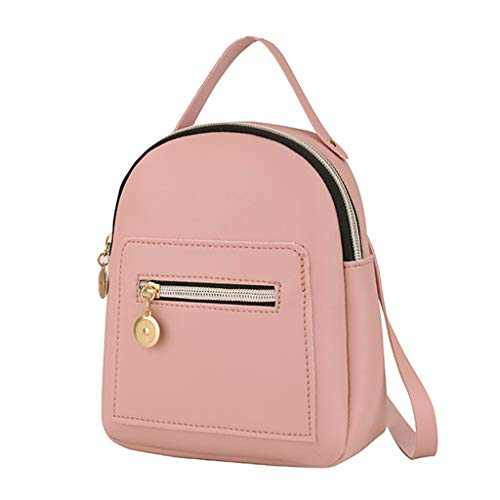 Small Leather Backpack Mini Cute Casual Daypack Zippered Pockets Crossbody Convertible Shoulder Bags for Women Girl (Pink)