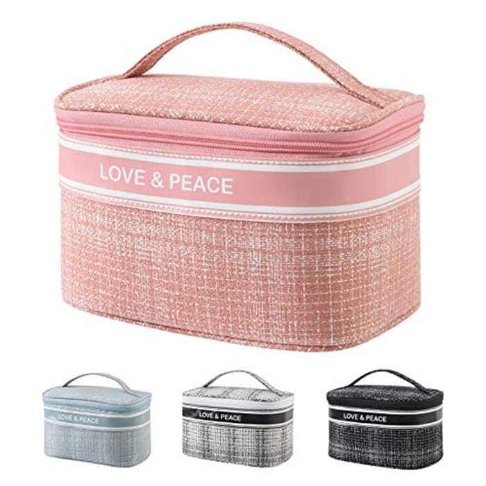 Makeup Bag Travel Large Cosmetic Bag, Portable Makeup Case with Mesh Bag Brush Holder Make Up Organizer for Women Girls (A001-Pink)