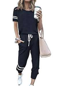 PRETTYGARDEN Women's Summer Two Piece Outfits Striped Short Sleeve Pullover and Long Pants Tracksuit Pajama Lounge Jogging Set With Pockets (Navy, XX-Large)