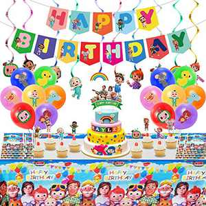 Coco-melon Birthday Party Supplies, Party Supplies, Party Favor Dessert Set Include Happy Birthday Banner,Tablecover,Cake Toppers,Cupcake Toppers,Hanging Swirl for Kids Boy Girls