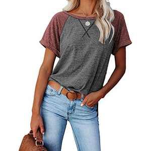 2021 Women's Short Sleeve Comfy Casual Blouses T Shirts Crewneck Tees Casual Loose Fit Tshirts Tops (Gray-Maroon, L)