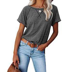 2021 Women's Short Sleeve Comfy Casual Blouses T Shirts Crewneck Tees Casual Loose Fit Tshirts Tops (Dark Gray, XL)