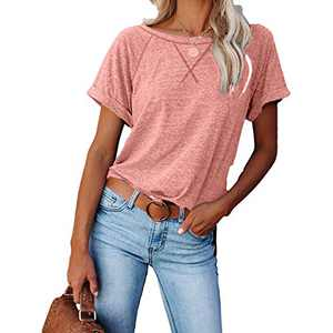 2021 Women's Short Sleeve Comfy Casual Blouses T Shirts Crewneck Tees Casual Loose Fit Tshirts Tops (Pink, M)
