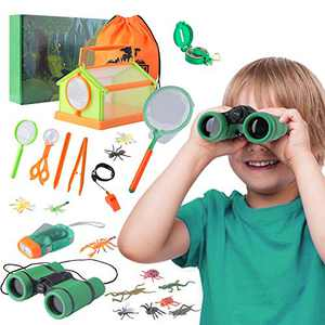Outdoor Kids Nature Explorer Kit Set, Bug Catcher Kit with Flashlight, Binoculars and Butterfly Net, Outdoor Toys Adventure Kit for Camping Hiking, Great Gift for Kids Boys & Girls Ages 3-12