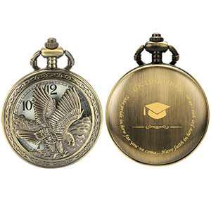 SIBOSUN Graduation Pocket Watch Engraved 'Graduation' – Perfect Present for Him | Her College/High School Graduation for Son Daughter Gift for Classmates Bronze