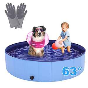 """RQN 63"""" Foldable Dog Pool for Outdoor Backyard,Portable Pet Pool for Kid Baby Pet Dog Cat with Gloves"""