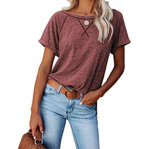 2021 Women's Short Sleeve Comfy Casual Blouses T Shirts Crewneck Tees Casual Loose Fit Tshirts Tops (Maroon, L)