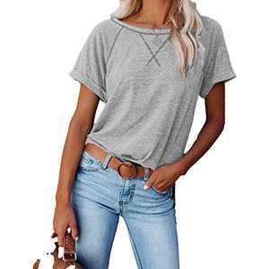 2021 Women's Short Sleeve Comfy Casual Blouses T Shirts Crewneck Tees Casual Loose Fit Tshirts Tops (Gray, L)