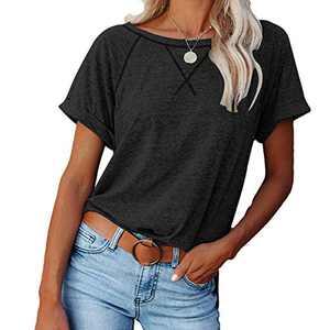 2021 Women's Short Sleeve Comfy Casual Blouses T Shirts Crewneck Tees Casual Loose Fit Tshirts Tops (Black, L)