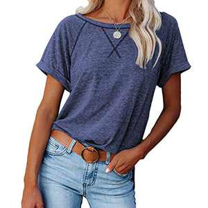 2021 Women's Short Sleeve Comfy Casual Blouses T Shirts Crewneck Tees Casual Loose Fit Tshirts Tops (Blue, XXL)