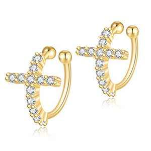 Jewlpire 925 Sterling Silver Cross Earrings for Women Girls -18K Gold Hypoallergenic Ear Cuffs for Women Dainty Diamond Earrings for Women - Ear Cuffs for Women Non Piercing-Clip on Earrings for Women