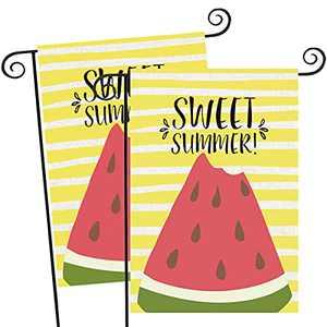 "FUNNISM 2PCS Sweet Summer Vertical Garden Flag,Double-sided Yellow Stripe Watermelon Garden Burlap Banner, Yard, Porch, Patio, Home, Farmhouse, Garden, Outdoor & Indoor Summer Decorations(12.5"" x 18"")"