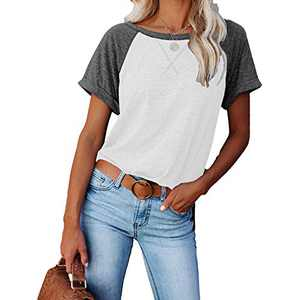 2021 Women's Short Sleeve Comfy Casual Blouses T Shirts Crewneck Tees Casual Loose Fit Tshirts Tops (Grey-White, M)