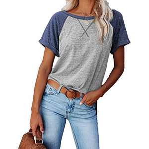 2021 Women's Short Sleeve Comfy Casual Blouses T Shirts Crewneck Tees Casual Loose Fit Tshirts Tops (Gray-Blue, XL)