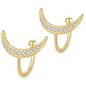 Jewlpire 925 Sterling Silver Moon Earrings-18K Gold Hypoallergenic Ear Cuffs for Women Diamond Earrings for Women-Cross,Moon,Triangle,Star,Bar-Huggie Earrings for Women-Cartilage Earrings Non Piercing
