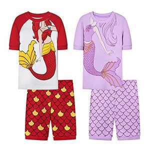 Joyond Girls Summer Cotton Pajamas Sets Snug-Fit Sleepwear for Toddler Clothes Kids Short Sleeves Pjs (10, Mermaid, Red & Mermaid Purple)