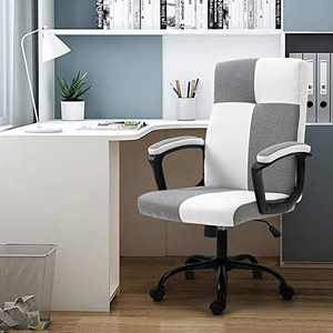 Seatingplus Home Office Desk Chair, Ergonomic Adjustable Lumbar Support Computer Chair, Task Chair with Metal Base and Padded Armrests (Gray & White - Fabric)