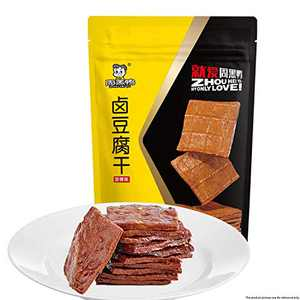 Vegetarian Snacks, Braised Bean Curd Products of Zhou Hei Ya, Vacuum Packaging, Casual Snacks Made of Bean Curd, Ready to Eat in the Bag, No Preservatives, Spicy and Delicious, 4.7 oz/Bag
