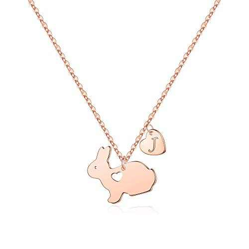 Yoosteel Rabbit Necklaces Gifts for Kids, 14K Rose Gold Plated Personalized J Initial Necklace Dainty Heart Necklace Cute Animal Bunny Pendant Necklaces Baby Gifts for Girls