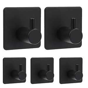 Adhesive Hooks 5 Pack,Fitepro SUS 304 Stainless Steel Heavy-Duty Wall Hooks, Self-Adhesive Hooks for Hanging Coat, Hat, Towel, Robe Hook Rack Wall Mount for Bathroom Kitchen Bedroom, Black