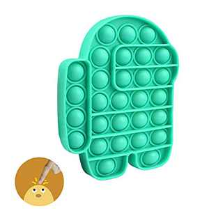 Push Pop Bubble Among in Us Fidget Toy,Pop Bubble Silicone Sensory Fidget Toy,Autism Special Needs Stress Reliever for Kids Adults(Green Among)