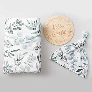100% Organic Cotton Muslin Blanket| Eucalyptus Swaddle Set| Hospital Receiving Blanket Newborn Boy Girl Unisex Neutral| Boho Vintage Greenery