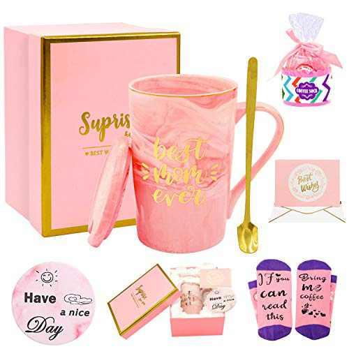 Birthday Gift for Mom - Best Mom Ever Coffee Mug- Mother's Day Gifts - Funny Gifts Set for Mother from Daughter, Ceramic Marble Pink Coffee Mug 14 Oz