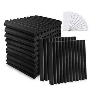 "YeCheng 12 Pack Acoustic Foam 1"" X 12"" X 12"" Soundproof Foam Panels - Studio Foam Wedges- Sound Absorbing Tiles for Recording Studio Ceiling - Black"