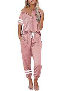 MITILLY Women's Summer Two Piece Outfit Short Sleeve Button Up Jogger Loungewear Sweatsuit Sets Striped Pink Medium