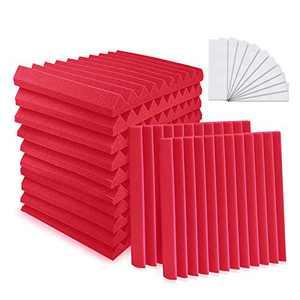 "YeCheng 12 Pack Acoustic Foam 1"" X 12"" X 12"" Soundproof Foam Panels - Studio Foam Wedges- Sound Absorbing Tiles for Recording Studio Ceiling - Red"
