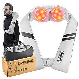 KAHLHAK Shiatsu Neck and Shoulder Massager with Heat,Deep Tissue 3D Kneading Massage Pillow for Neck Pain Relief,Portable Neck Massager for Women Men,Use at Home Office and Car