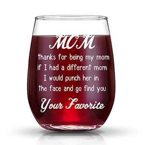 Mom Gifts, Mother's Day Gifts for Mom,Birthday Gifts for Mom from Daughter or Son - 15oz Wine Glass