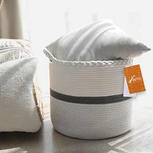 Aisto Woven Basket for Storage Wide Version Cotton Rope Laundry Basket Baby Room Decor Grey and White Toy Storage Organizer - for Toys Clothes Towels Blanket