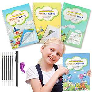 Magic Practice Copybook for Kids, 4Pack Handwriting Practice Workbook Reusable Kindergarten Calligraphy, Repeated Number Math Drawing Alphabet Handwriting Book for Age 3 4 5 6