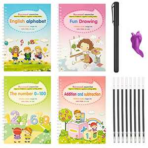 Magic Practice Copybook for Kids, 4Pcs Reusable Kindergarten Workbook Calligraphy Handwriting Practice Books, Repeated Number Math Drawing Alphabet Handwriting Book for Age 3 4 5 6