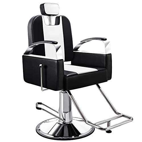 Baasha Reclining Barber Chair Heavy Duty Hydraulic Salon Chair Barber Salon Chairs for Hair Stylist All Purpose Styling Chair Tattoo Chair Shampoo Salon Equipment