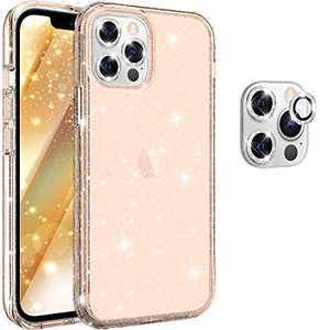 "Hoerrye Compatible with iPhone 12 Pro Max Phone Case for Women, [3 x Camera Lens Protector][PC Hard Cover, Military Grade Protection] Never Yellow Full Cover 6.7"" Accessoriess - Glitter Glod"
