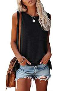 MIROL Women's Sleeveless Tank Tops Basic Loose Tunic T Shirts Batwing Sleeve Solid Color Casual Tee with Pocket Black